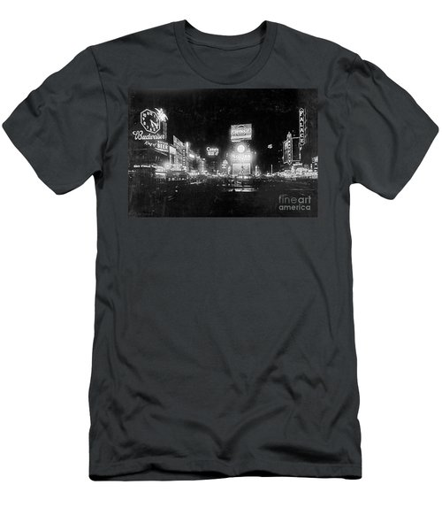 Vintage Times Square At Night Black And White Men's T-Shirt (Slim Fit) by John Stephens