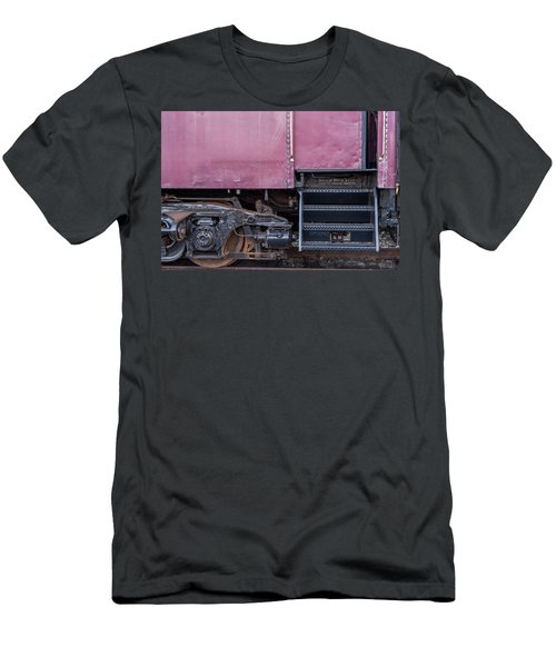 Men's T-Shirt (Slim Fit) featuring the photograph Vintage Train Car Steps by Terry DeLuco
