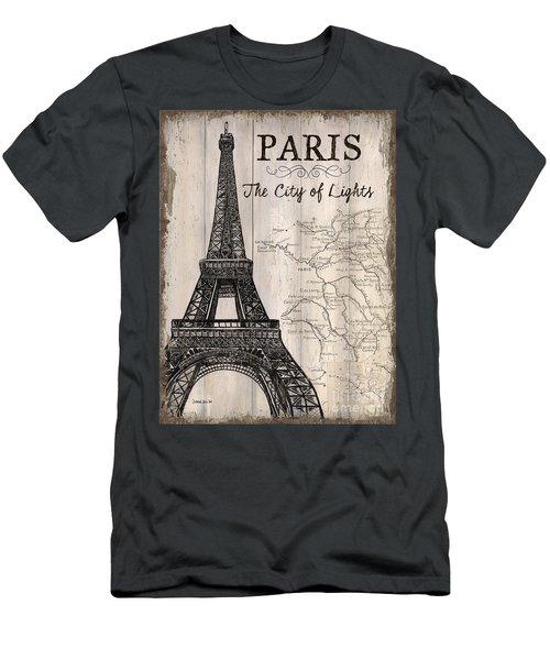 Vintage Travel Poster Paris Men's T-Shirt (Slim Fit) by Debbie DeWitt