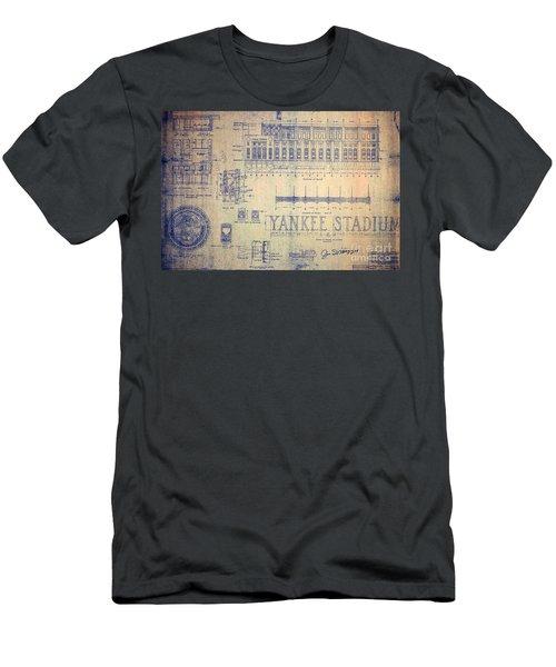 Vintage Yankee Stadium Blueprint Signed By Joe Dimaggio Men's T-Shirt (Athletic Fit)