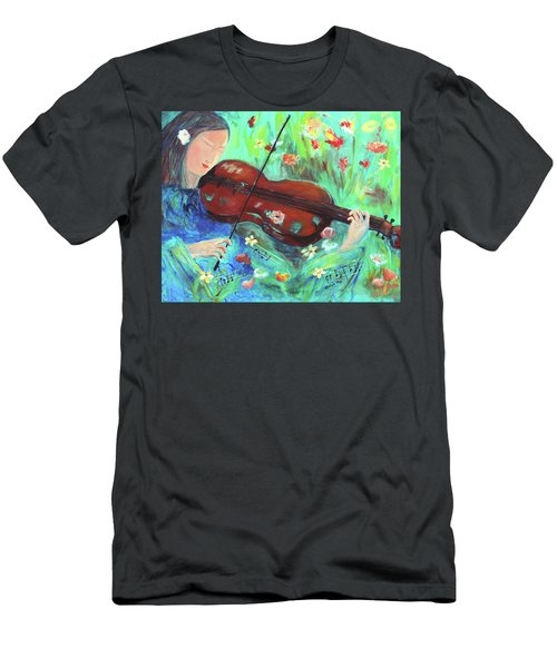Violinist In Garden Men's T-Shirt (Athletic Fit)