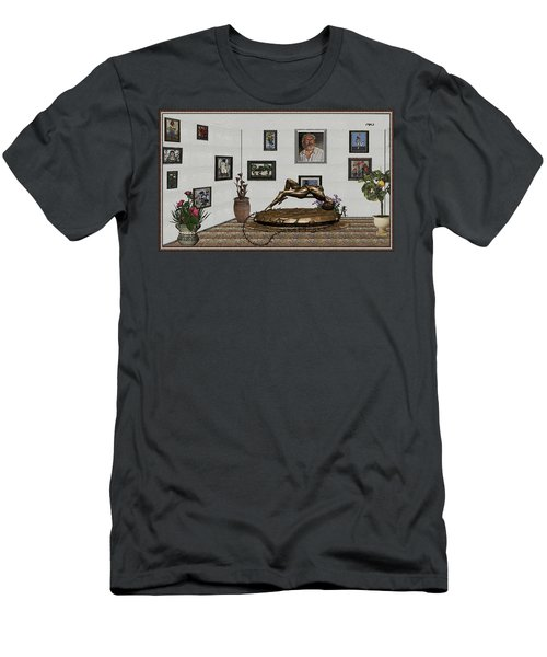 Virtual Exhibition -statue Of Girl Men's T-Shirt (Slim Fit) by Pemaro