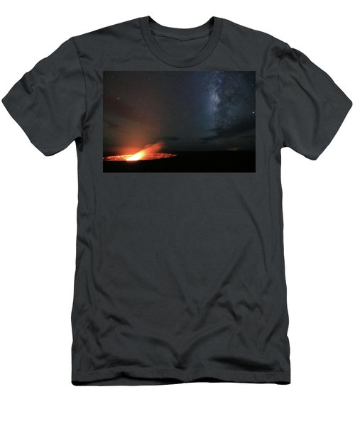 Volcano Under The Milky Way Men's T-Shirt (Athletic Fit)