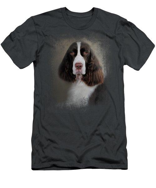 Waiting Patiently - English Springer Spaniel Men's T-Shirt (Slim Fit) by Jai Johnson