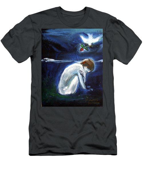 Men's T-Shirt (Athletic Fit) featuring the painting Waiting by Winsome Gunning