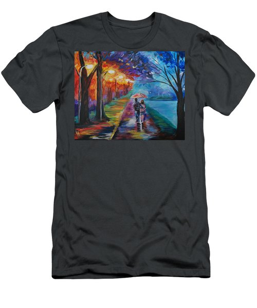 Men's T-Shirt (Slim Fit) featuring the painting Walk By The Lake Series 1 by Leslie Allen
