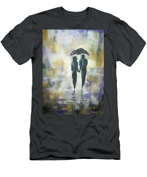 Men's T-Shirt (Slim Fit) featuring the painting Walk In The Rain #3 by Raymond Doward