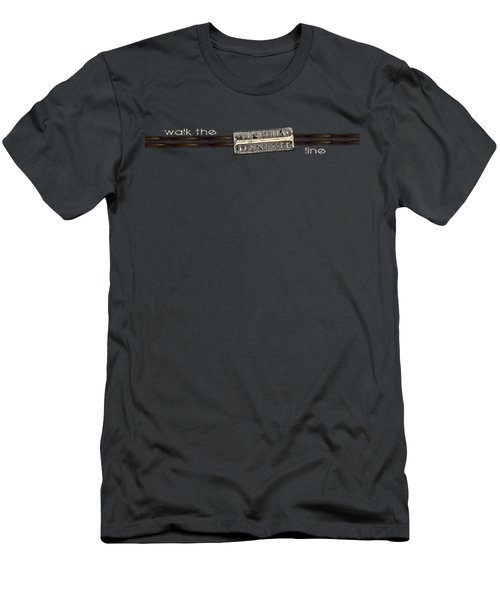 Walk The Line Light Lettering Men's T-Shirt (Slim Fit) by Heather Applegate