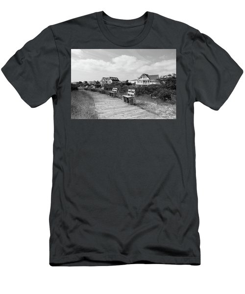 Walk Through The Dunes In Black And White Men's T-Shirt (Athletic Fit)