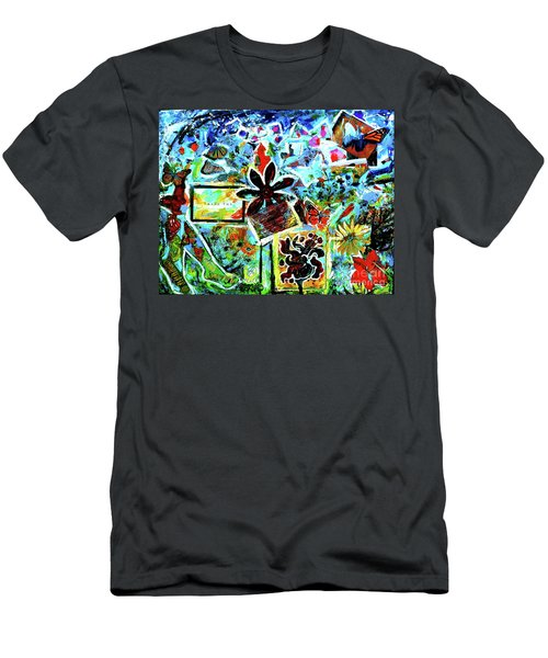 Men's T-Shirt (Slim Fit) featuring the mixed media Walking Amongst The Monarchs by Genevieve Esson