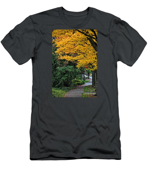 Walkway Under A Canopy Of Yellow Men's T-Shirt (Slim Fit) by Kirt Tisdale