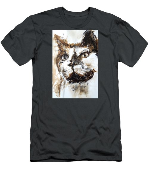 Men's T-Shirt (Slim Fit) featuring the mixed media Walnut And Charcoal by Mary Schiros