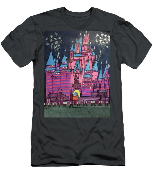 Men's T-Shirt (Slim Fit) featuring the painting Walt Disney World Cinderrela Castle by Jonathon Hansen
