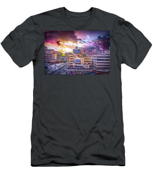 Men's T-Shirt (Slim Fit) featuring the photograph War Of The Worlds Detroit By Nicholas Grunas by Nicholas  Grunas