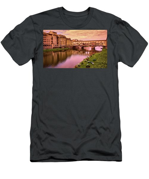 Sunset At Ponte Vecchio In Florence, Italy Men's T-Shirt (Athletic Fit)