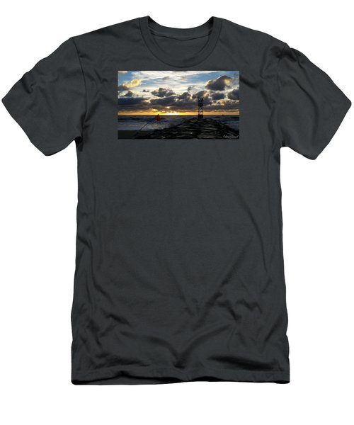 Men's T-Shirt (Slim Fit) featuring the photograph Warning Flag At Sunrise by Robert Banach