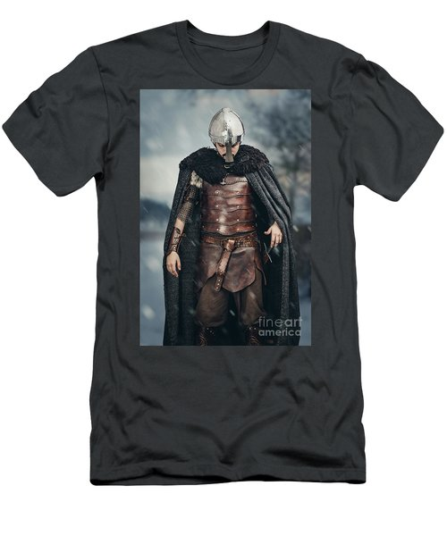 Warrior Wearing Helmet Men's T-Shirt (Athletic Fit)