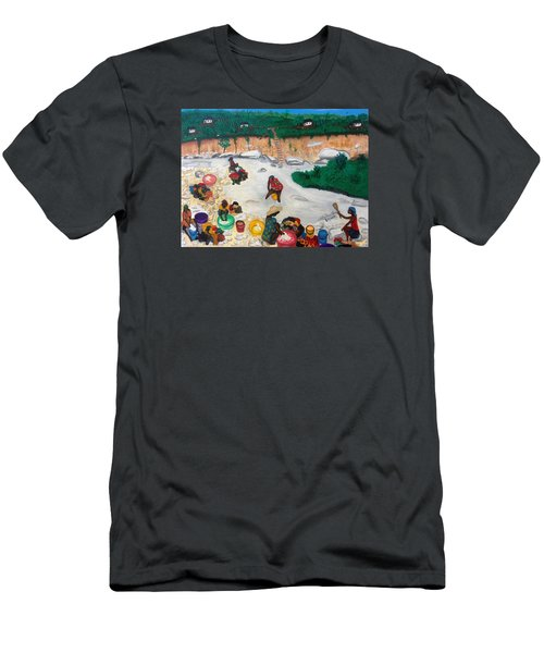 Washing Clothes By The Riverside In Haiti Men's T-Shirt (Slim Fit) by Nicole Jean-Louis