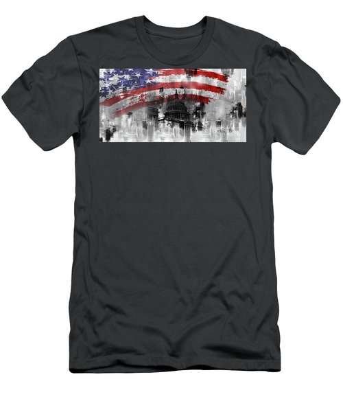 Men's T-Shirt (Slim Fit) featuring the painting Washington Dc Building 01a by Gull G