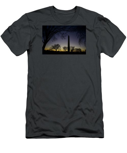 Washington Monument At Twilight With Moon Men's T-Shirt (Athletic Fit)