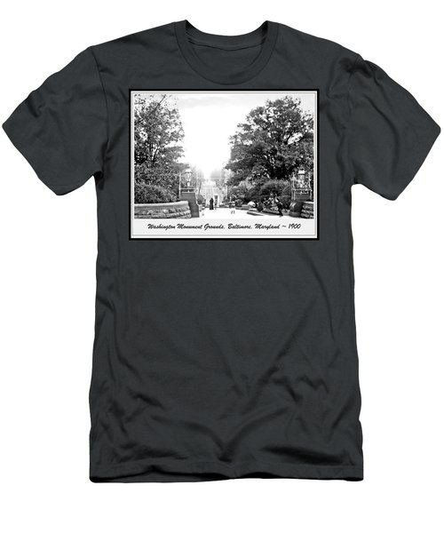 Washington Monument Grounds Baltimore 1900 Vintage Photograph Men's T-Shirt (Athletic Fit)