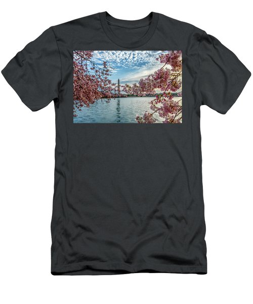 Washington Monument Through Cherry Blossoms Men's T-Shirt (Athletic Fit)