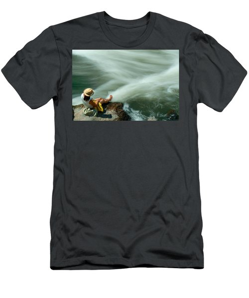 Watching The Rushing Water Men's T-Shirt (Athletic Fit)
