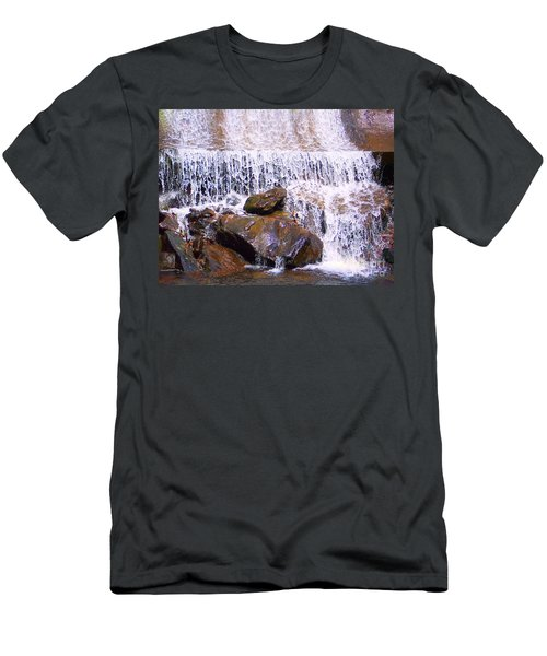 Men's T-Shirt (Slim Fit) featuring the photograph Water Cascade by Roberta Byram