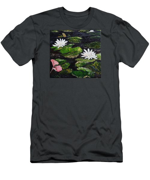 Men's T-Shirt (Slim Fit) featuring the painting Water Lilies I by Marilyn Zalatan