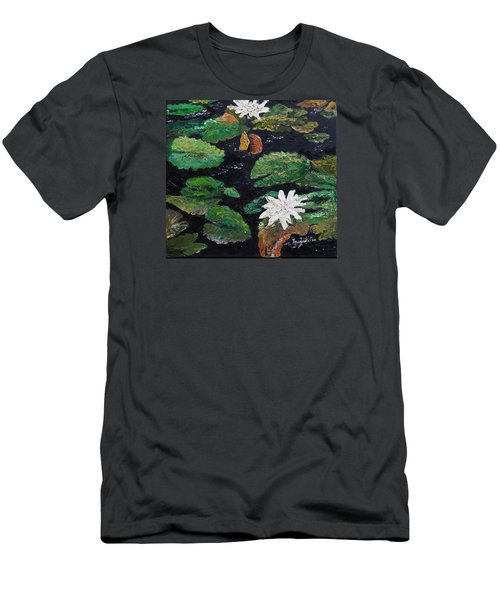 Men's T-Shirt (Slim Fit) featuring the painting water lilies II by Marilyn Zalatan