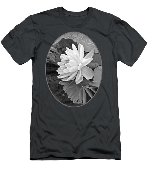 Water Lily Reflections In Black And White Men's T-Shirt (Slim Fit) by Gill Billington