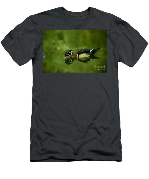 Male Wood Duck Water Reflections Men's T-Shirt (Athletic Fit)