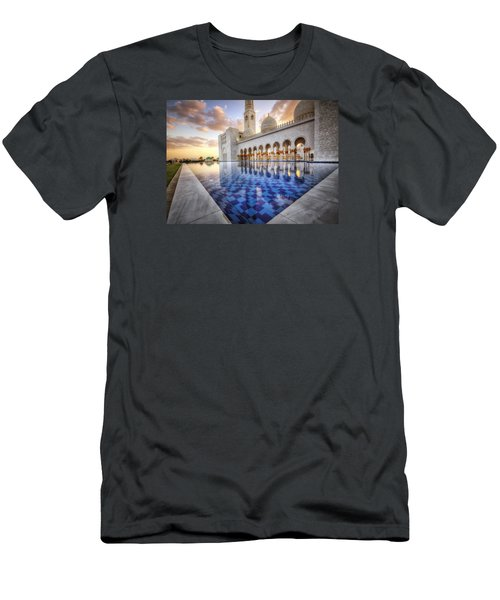 Men's T-Shirt (Slim Fit) featuring the photograph Water Sunset Temple by John Swartz