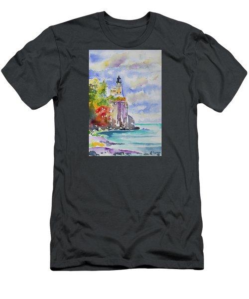 Watercolor - Autumn At Split Rock Lighthouse Men's T-Shirt (Athletic Fit)
