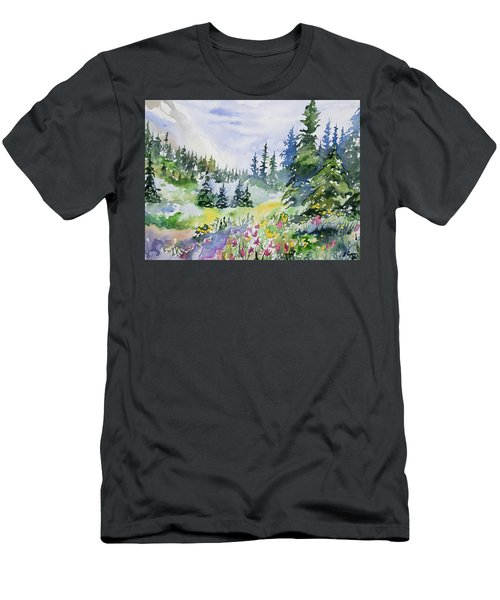Watercolor - Colorado Summer Scene Men's T-Shirt (Athletic Fit)