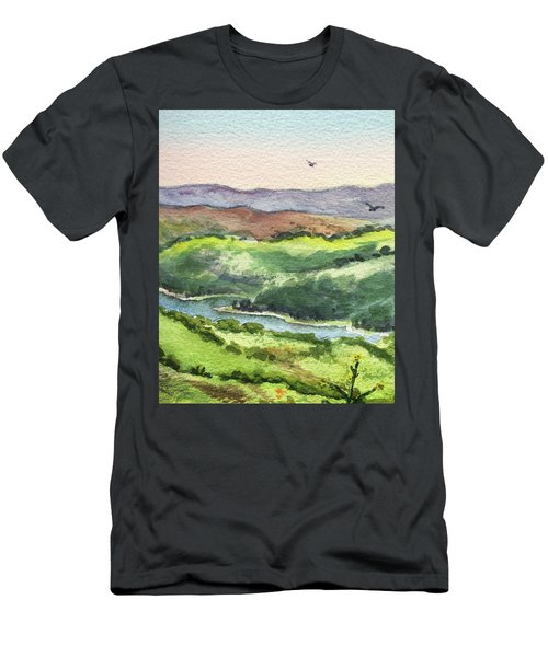 Men's T-Shirt (Athletic Fit) featuring the painting Watercolor Hills Of California by Irina Sztukowski