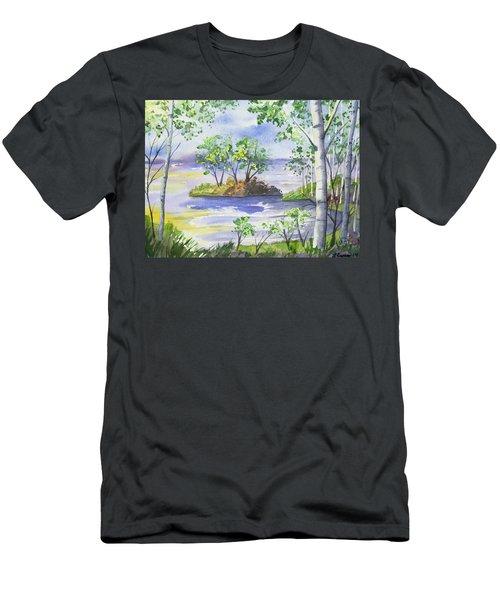 Watercolor - Minnesota North Shore Landscape Men's T-Shirt (Athletic Fit)
