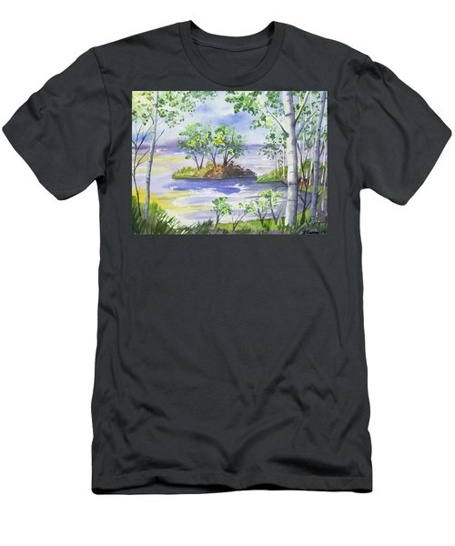 Watercolor - Minnesota North Shore Landscape Men's T-Shirt (Athletic Fit)