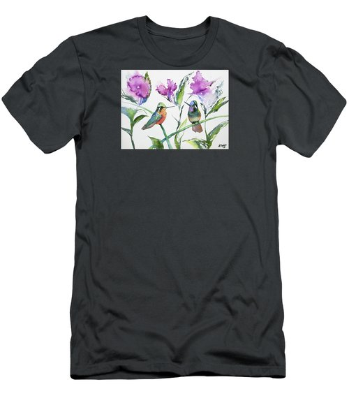 Watercolor - Purple-throated Mountain Gems And Flowers Men's T-Shirt (Athletic Fit)