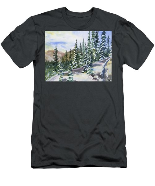 Watercolor - Winter Snow-covered Landscape Men's T-Shirt (Athletic Fit)
