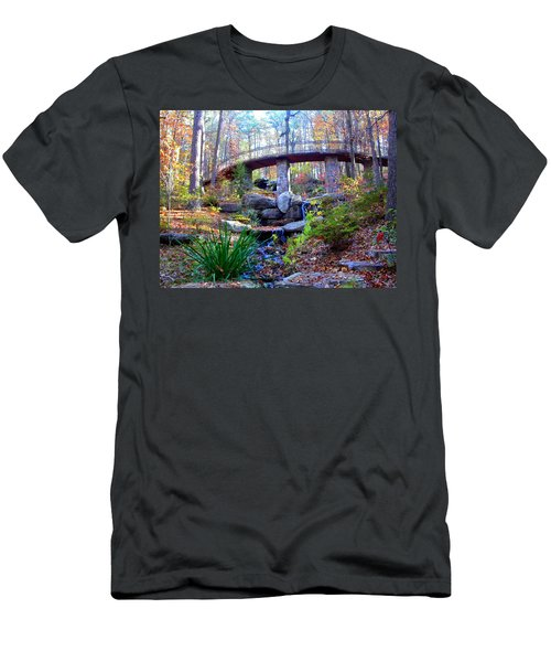 Waterfall And A Bridge In The Fall Men's T-Shirt (Athletic Fit)