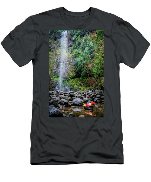 Waterfall And Flowers Men's T-Shirt (Athletic Fit)