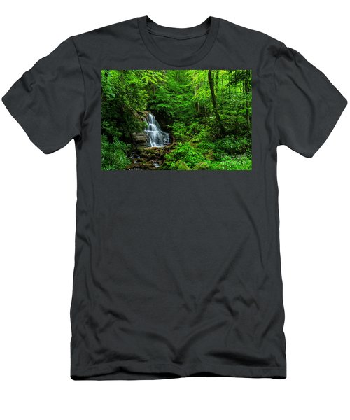 Waterfall And Rhododendron In Bloom Men's T-Shirt (Athletic Fit)