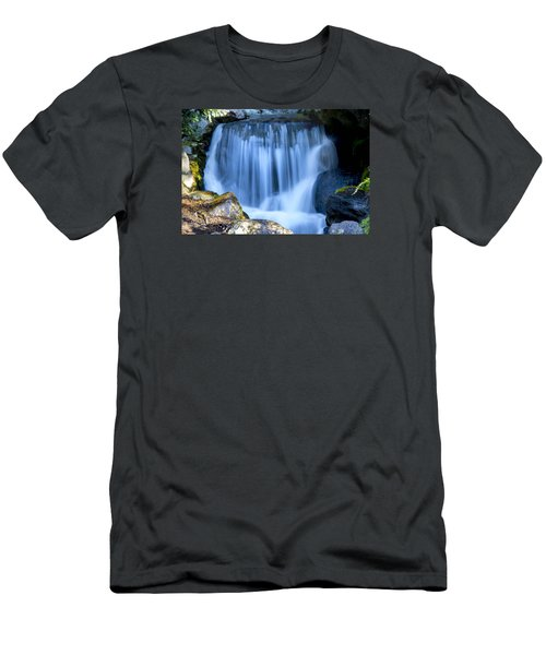 Waterfall At Dow Gardens, Midland Michigan Men's T-Shirt (Slim Fit) by Pat Cook