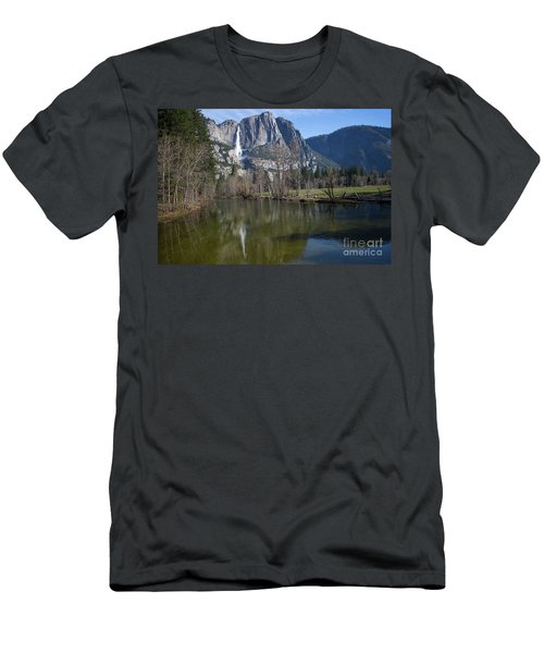 Waterfall Reflection Color Men's T-Shirt (Athletic Fit)