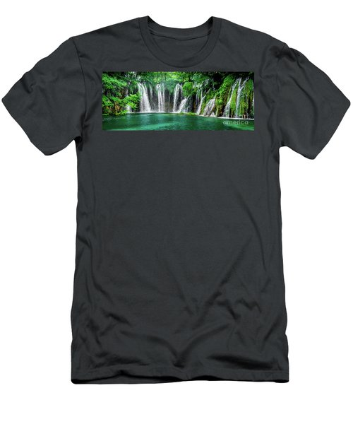 Waterfalls Panorama - Plitvice Lakes National Park Croatia Men's T-Shirt (Athletic Fit)