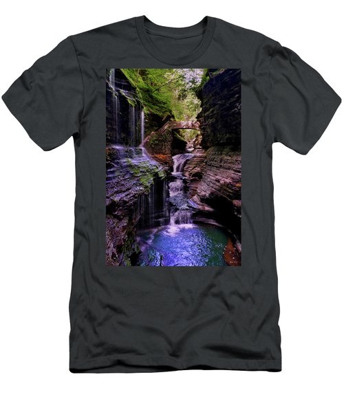 Men's T-Shirt (Slim Fit) featuring the photograph Watkins Glen State Park - Rainbow Falls 002 by George Bostian