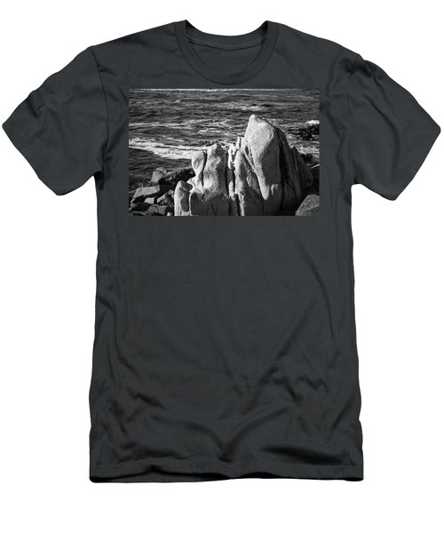 Men's T-Shirt (Athletic Fit) featuring the photograph Wave Blowing By The Stong Wind At Th Pacific Ocean Coast With Ro by Jingjits Photography