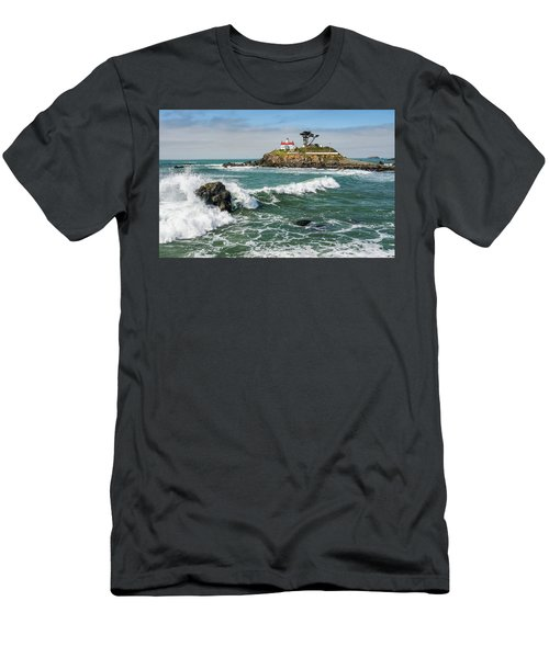 Men's T-Shirt (Slim Fit) featuring the photograph Wave Break And The Lighthouse by Greg Nyquist