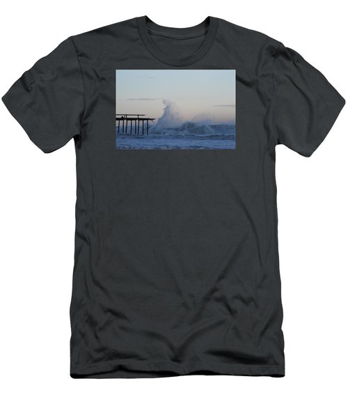 Wave Towers Over Oc Fishing Pier Men's T-Shirt (Slim Fit) by Robert Banach